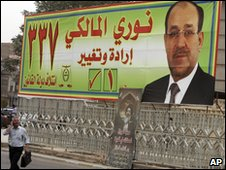 An election campaign poster for Iraqi Prime Minister Nouri al-Maliki, in Baghdad, 17 March