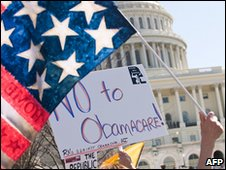 Opponents of the Democrats' healthcare reform plans demonstrate in Washington, 20 March