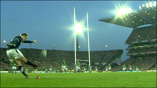 Dan Parks kicks the winning penalty against Ireland