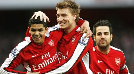 Denilson (left), Nicklas Bendtner (centre) and Cesc Fabregas (right)
