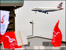 A plane and Unite banners