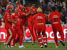 Royal Challengers Bangalore celebrate a wicket in the IPL