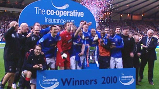 Rangers celebrate their Co-operative Insurance Cup triumph