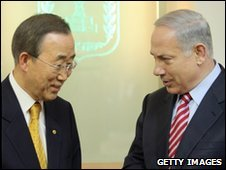 Ban Ki-Moon (L) and Benjamin Netanyahu in Jerusalem, 21 March 2010