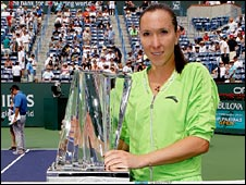 Jelena Jankovic poses with the BNP Paribas Open trophy