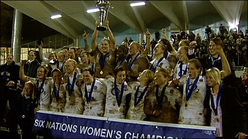 England's women's rugby team lift Six Nations trophy