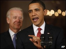 President Obama, with VP Biden at the White House 21 March 2010