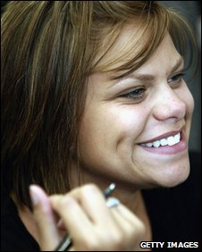 Jade Goody with pen