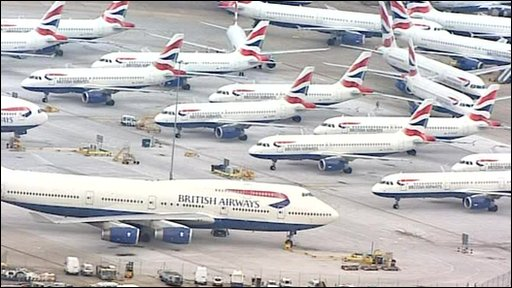 Grounded British Airways planes