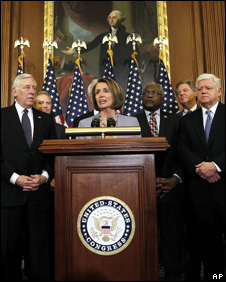 Speaker of the House Nancy Pelosi (D-CA) (C) delivers remarks during a press conference with (L-R) House Majority Leader Steny Hoyer (D-MD), Rep. George Miller (D-CA), Majority Whip Rep. James Clyburn (D-SC) and Rep. John Larson (D-CT) (R)