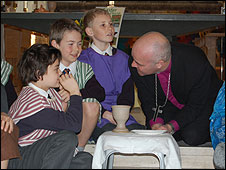 Bishop Stephen with pupils of St Peters C of E Primary in South Weald