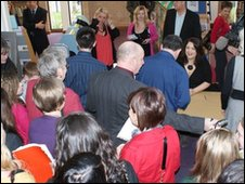 Ruth Jones signs photos for fans at Wrexham Library
