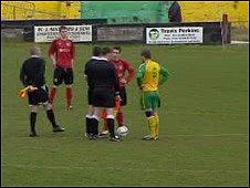 Caernarfon town FC during a match