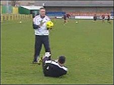 Caernarfon players in training