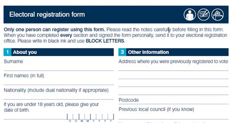 Electoral registration form