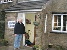 Peter Hodgkinson outside his cottage near Rochdale
