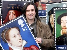 Neil Oliver with stamps