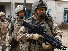 Soldiers of the 1st Batallion of the Royal Welsh on patrol in Afghanistan