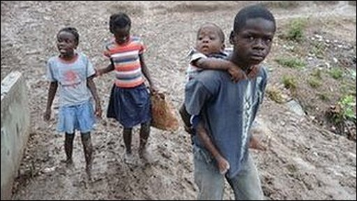 Kids walking through the mud in Haiti