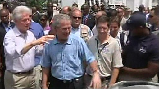 George Bush and Bill Clinton in Haiti
