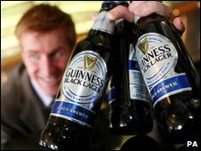 Bottles of Guinness Black Lager