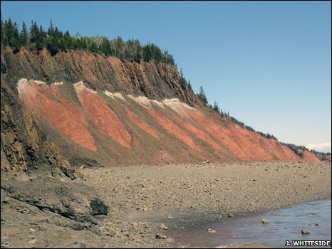 Flood basalts at Red Head in Nova Scotia, Canada (J. Whiteside)