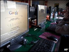 A computer screen in a Beijing internet cafe shows the new Chinese-language Google search home page, 23 March