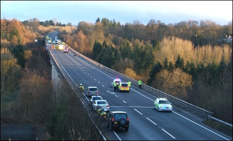 The scene after the crash on the A5 at Chirk, near Wrexham