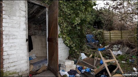 Immigrants' home in a garden shed in Peterborough