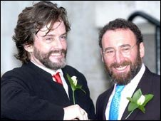 Actor Sir Antony Sher (left) with Greg Doran outside Islington Town Hall  after their civil partnership ceremony