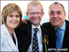 John Mason with Nicola Sturgeon and Alex Salmond