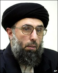 Gulbuddin Hekmatyar, leader of the Afghanistan Islamic Party answers journalists questions about the joint US-British attacks on Afghanistan, which he condemned, in Tehran, Tuesday Oct. 9,2001.