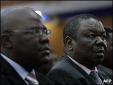 Tendai Biti (L) with Morgan Tsvangirai - 12 April 2008