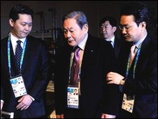 Lee Kun Hee (C) attends the 122nd IOC Session ahead of the Vancouver 2010 Winter Olympics