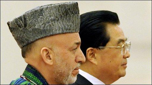President Hamid Karzai and President Hu Jintao