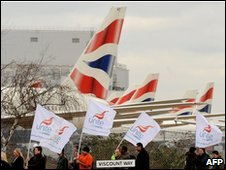 Strikers at Heathrow on 22 March 2010