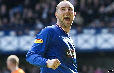 Rangers striker Kris Boyd celebrates
