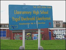 Llanrumney High School sign