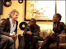 Songwriter Guy Chambers (left) with Tinchy Stryder (centre) and The Noisettes' Shingai Shoniwa