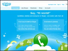 Skype website screen grab