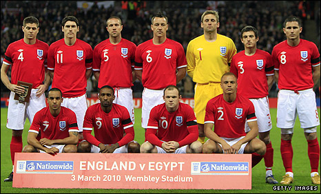 England's football team at Wembley earlier this month