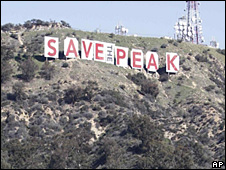 The Hollywood sign draped in a banner