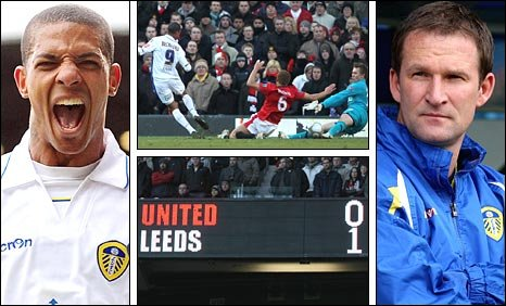 Jermaine Beckford (left), Beckford scores at Old Trafford (centre-top), The Old Trafford scoreboard (centre-bottom) and Simon Grayson (right)