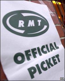 RMT strike placard