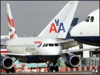 British Airways and American Airlines planes at Heathrow