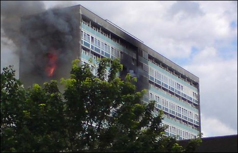 Lakanal House in Camberwell on fire (pic: Christian Landles)