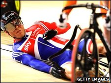 Hoy crashes at the start of his heat in the men's keirin