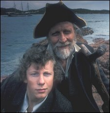Ashley Knight and Alfred Burke in the BBC's Treasure Island (1977)