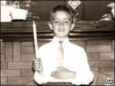 Arthur Budzinski receives his first Holy Communion in 1958 (family photo)