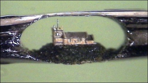 Microscopic church sculpture